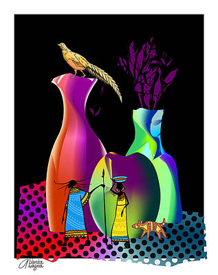 Digital Art - Colorful Whimsical Stll Life by Arline Wagner