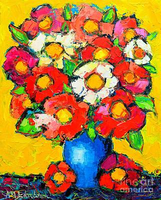 Bouquets Of Pink Flowers Green Blue Painting - Colorful Wildflowers by Ana Maria Edulescu