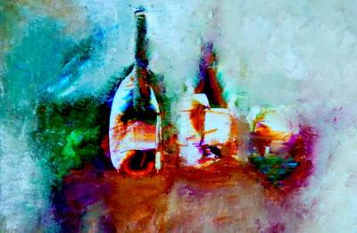 Art Print featuring the painting Colorful Wine Serenade by Lisa Kaiser