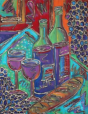 Painting - Colorful Wine Table by Cynthia Snyder