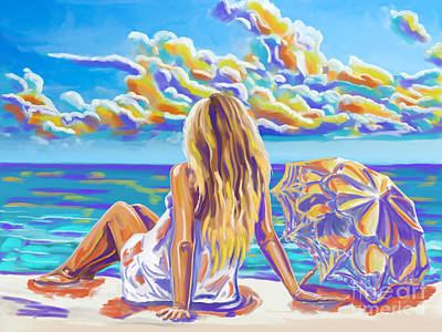 Colorful Woman At The Beach Art Print