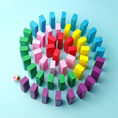 Photograph - Colorful Wooden Blocks Arranged In A by Juj Winn