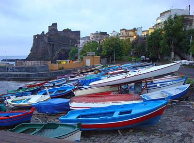 Photograph - Colorful Wooden Fishing Boats Of Aci Castello Sicily With 11th Century Norman Castle by Jeff at JSJ Photography