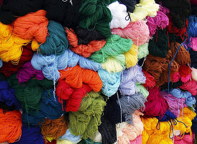 Photograph - Colorful Yarn Otavalo Market Ecuador by Kurt Van Wagner