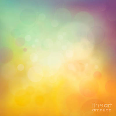 Mythja Digital Art - Colorful Yellow Bokeh Background by Mythja  Photography