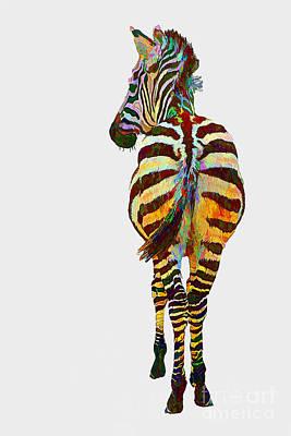 Zebra Mixed Media - Colorful Zebra by Teresa Zieba