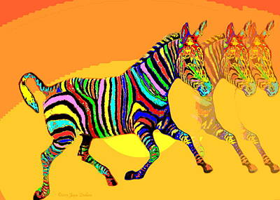 Colorful Zebra X3 _ The Card Art Print by Joyce Dickens