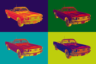 Collectible Sports Art Digital Art - Colorful1965 Ford Mustang Convertible Pop Art by Keith Webber Jr
