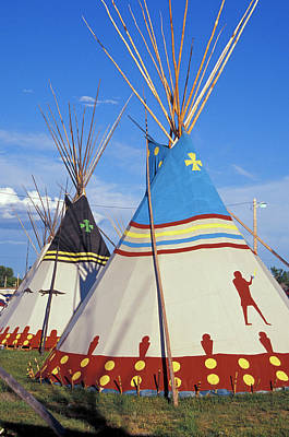 Tipi Photograph - Colorfully Painted With Decorative by Angel Wynn