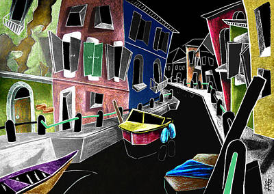 Colori Di Burano - Fine Art Venice Canal Paintings Italy Art Print by Arte Venezia