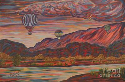 Balloon Fiesta Painting - Colorific Mornings by Lynne Sanchez