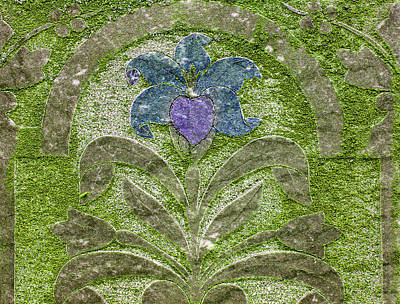 Colorized Moss Covered Gravestone  Art Print by Jean Noren