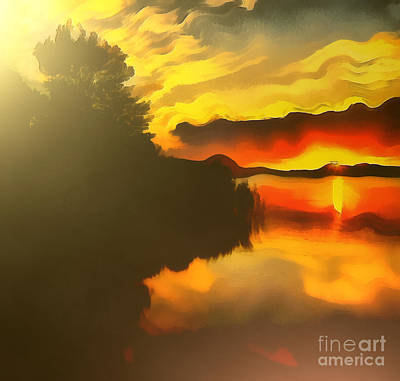 Colors At The Lake Art Print by Odon Czintos