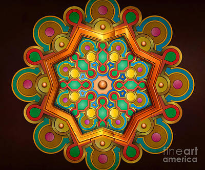 Mandala Digital Art - Colors Burst by Bedros Awak