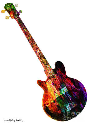 Colors Guitar  Art Print by Mark Ashkenazi