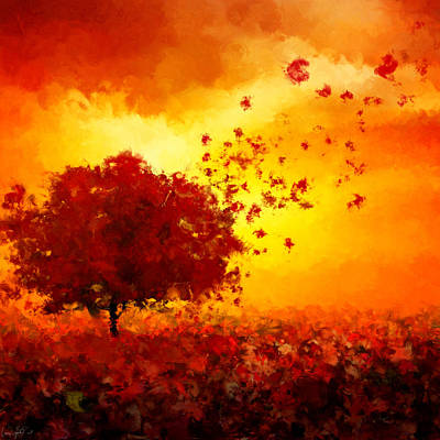 Red Maple Trees Digital Art - Colors Hymn by Lourry Legarde