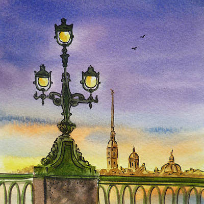 Painting - Colors Of Russia Bridge Light In Saint Petersburg by Irina Sztukowski