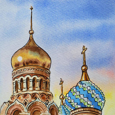 Sunset Painting - Colors Of Russia St Petersburg Cathedral Iv by Irina Sztukowski