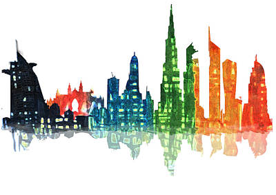 Dubai Skyline Painting - Colors Of The City by Art Tantra