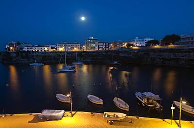 Night Photograph - Cala Corb In Es Castell - Minorca - Colors Of The Moonlight   by Pedro Cardona Llambias