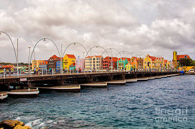 Colors Of Willemstad Curacao And The Foot Bridge To The City Art Print