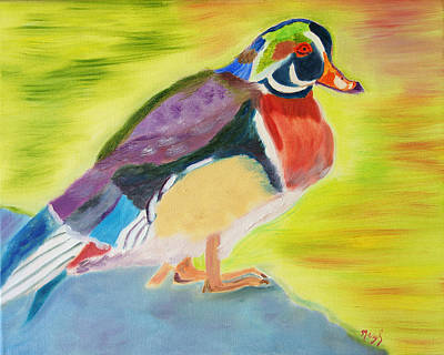 Wood Duck Painting - Colors Shining Through by Meryl Goudey