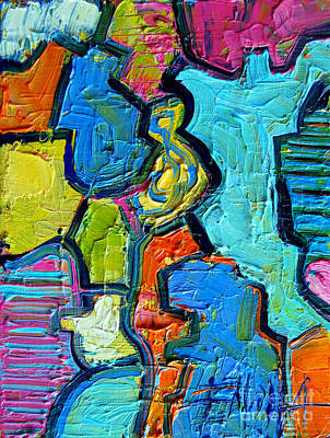 Abstract Oil Painting - Colorscape #07 - Puzzled by Mona Edulesco
