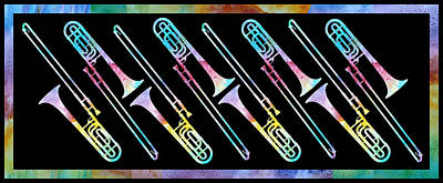 Trombone Digital Art - Colorwashed Trombones by Jenny Armitage
