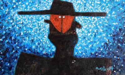 Cubism Wall Art - Painting - Colos Masked Man Blue by Mark M  Mellon