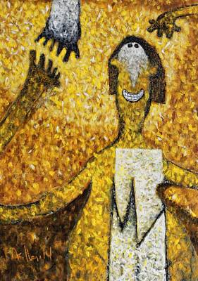 Charcoal Mixed Media - Colos Woman Yellow by Mark M  Mellon