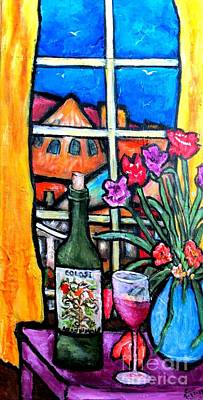 Colosi Wine With Flowers Original by Chaline Ouellet