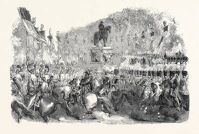 Colossal Statue Of Napoleon, In The Champs Elysees Art Print by English School