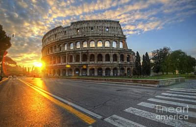 Photograph - Colosseo Golden Sunrise by Yhun Suarez