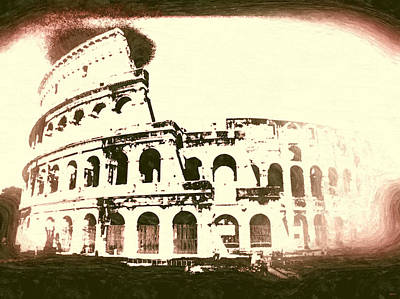 Ancient Rome Mixed Media - Colosseo Vintage by Daniel Janda