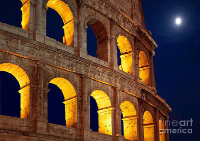 Blue Buildings Photograph - Colosseum And Moon by Inge Johnsson