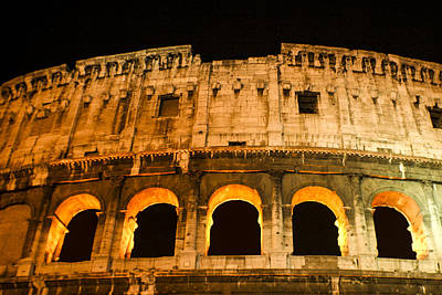 Print featuring the photograph Colosseum At Night by Rob Tullis
