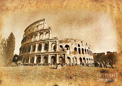 Colliseum Photograph - Colosseum Grunge by Stefano Senise