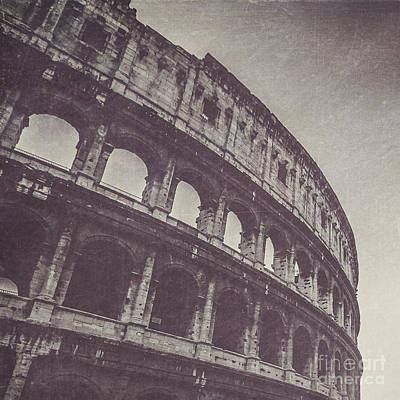 Square Photograph - Colosseum In Black And White by Maren Misner
