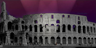 Photograph - Colosseum In Purple Lights by Caroline Stella