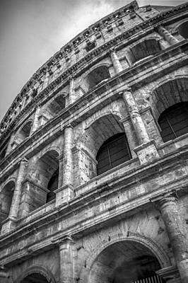 Photograph - Colosseum Rome Italy Bw by Alex Saunders