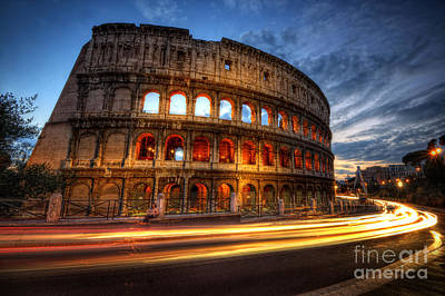 Photograph - Colosseum Lite Trails by Yhun Suarez