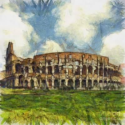 City Sunset Drawing - Colosseum Pencil by Sophie McAulay