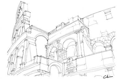 Drawing - Colosseum Sketch by Calvin Durham
