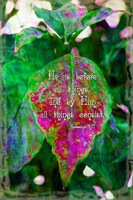 Believe Digital Art - Colossians 1 17 by Michelle Greene Wheeler