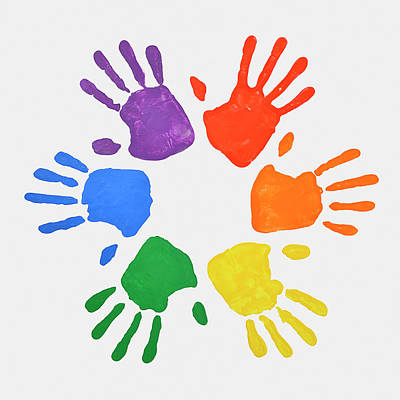 Coloured Handprints Facing Outwards Art Print by David Malan