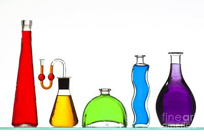 Fluid Mechanics Photograph - Coloured Liquids In Bottles by Martyn F. Chillmaid