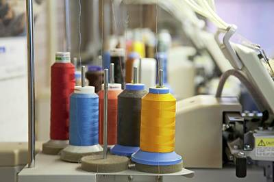 Coloured Threads On Embroidery Machine Art Print