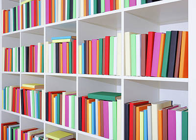 Bookcase Photograph - Colourful Books On A Bookcase by Wladimir Bulgar