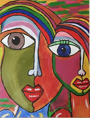Neha Shah Painting - Colourful Boy And Girl by Neha  Shah