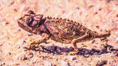 Chameleon Digital Art - Colourful Chameleon by Liz Leyden